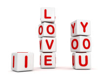 I love you white toys blocks for valentines day Royalty Free Stock Image