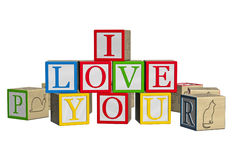 I love you wood blocks Royalty Free Stock Photos