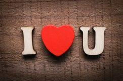 I Love You On Wood Stock Image
