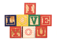 I love you wooden blocks Royalty Free Stock Images