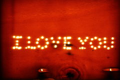 I love you on a wooden board Stock Photo