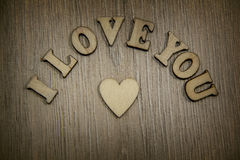 I love you wooden shape heart and letters, love theme. Stock Image