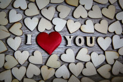 I love you wooden shape heart and letters, love theme. Stock Images