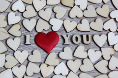 I love you wooden shape heart and letters, love theme. Royalty Free Stock Images