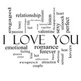 I Love You Word Cloud Concept on in Black and White Royalty Free Stock Images