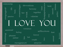 I Love You Word Cloud Concept on a Blackboard Stock Image