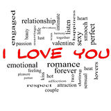 I Love You Word Cloud Concept in Red Caps. With great terms such as valentine, lovers, kiss, romance and more Stock Photo