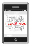 I Love You Word Cloud Concept on Touchscreen Phone. I Love You Word Cloud Concept of Touchscreen Phone with great terms such as romance, lust, kiss, sexy and Stock Photos