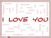 I Love You Word Cloud Concept on a Whiteboard Stock Photography