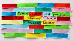 I Love You Word Cloud printed on colorful paper