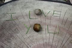 I love you word displaying on concrete bench Royalty Free Stock Photos