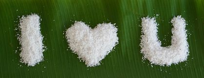 I love you word from grated coconut on banana leave 2 Stock Image