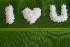 I love you word from grated coconut on banana leave 4 Royalty Free Stock Image