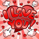 I love you words comic book pop art vector. I love you words pop art retro vector illustration. Comic book style imitation Royalty Free Stock Images
