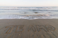I love you. Words I love you written on the seashore royalty free stock image