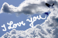 I love you write in the sky Royalty Free Stock Images