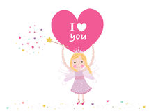 I love you writing fairy holding heart valentine's day greeting card vector Royalty Free Stock Image