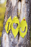 I love you written on an autumn leaves Royalty Free Stock Photography