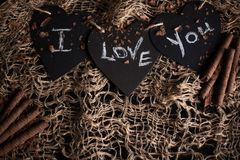 I love you, written chalk on a blackboard. Happy Valentines Day. Valentine`s Day theme. Mother`s Day. Chalk lettering on stock photos