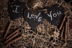 I love you, written chalk on a blackboard. Happy Valentines Day. Valentine`s Day theme. Mother`s Day. Chalk lettering on royalty free stock photography