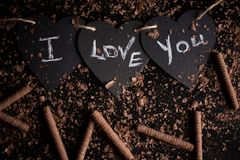 I love you, written chalk on a blackboard. Happy Valentines Day. Valentine`s Day theme. Mother`s Day. Chalk lettering on stock photo