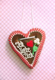 I love you written on a gingerbread heart. Against pink and white checkered background Royalty Free Stock Image