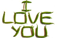 I Love You written from peas. royalty free stock image