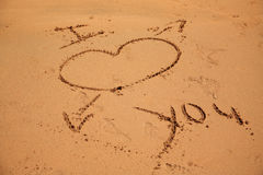 I love you written in the sand Stock Image
