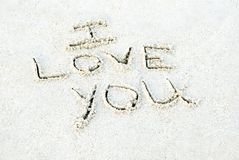 I Love You Written in Sand Stock Photos