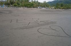 I love you written in the sand royalty free stock photo
