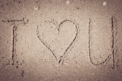 I love you  written on the sand Stock Photos