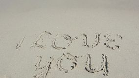 I Love you written in the sand stock footage
