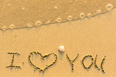 I Love You - written on sandy beach Stock Images