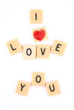 I love you written in scrabble pieces. Stock Image
