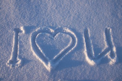 I love you written on a snow. I love you written on a a glittering snow Stock Photo