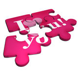 I love young jigsaw puzzle. Illustration of partially completed, I love you, jigsaw, puzzle, white background Stock Photo