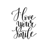 I love your smile black and white hand written lettering Royalty Free Stock Images