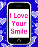 I Love Your Smile On Phone Means Happy Stock Images