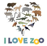 I love ZOO. Vector poster with animals images Stock Image