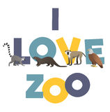 I love ZOO. Vector poster with animals images Stock Photo
