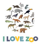 I love ZOO. Vector poster with animals images Stock Photos