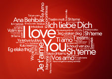 I loveyou i olika språk - ordmoln Arkivbilder