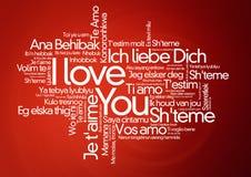 I loveyou nelle lingue differenti - nuvola di parola Immagini Stock