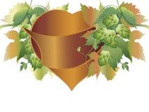 I luppoli piantano e cuore Fotografia Stock Libera da Diritti
