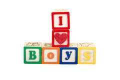 I luv boys. In block letters royalty free stock photos