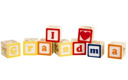 I luv grandma. In block letters royalty free stock photo