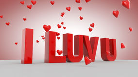 I LUV U. 3D love text with hearts Royalty Free Stock Image