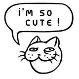 I ` m настолько милое! Голова кота шаржа речи персоны пузыря вектор графической говоря также вектор иллюстрации притяжки corel Стоковые Изображения