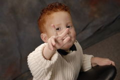 I'm 3!!. Young boy showing his age with his fingers Stock Photography