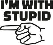 I ` m avec stupide et doigt laissé illustration stock